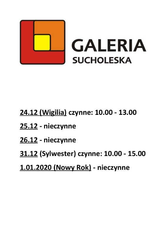 Godziny otwarcia Galerii w okresie świąteczno-noworocznym 2019/2020