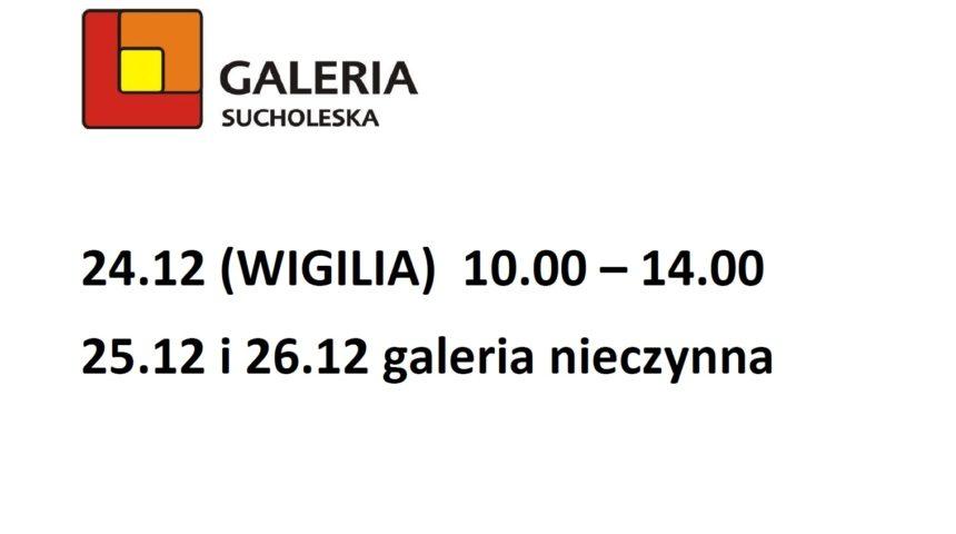 Godziny otwarcia Galerii w okresie świątecznym 2020/2021